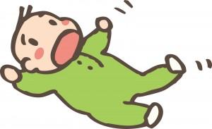 寝転ぶ赤ちゃんのイラスト
