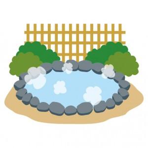 温泉(露天風呂)のイラスト